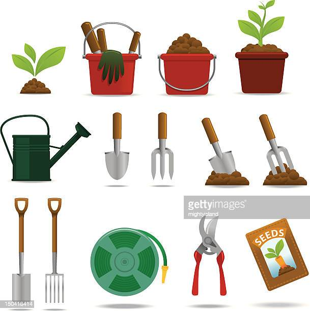 gardening icon set - watering can stock illustrations, clip art, cartoons, & icons