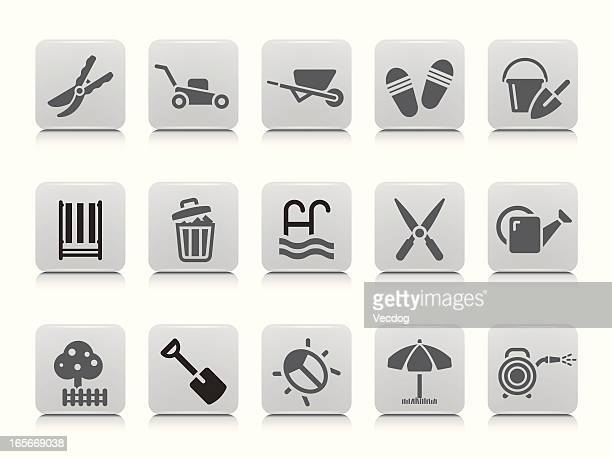 gardening icon set - hedge trimmer stock illustrations, clip art, cartoons, & icons