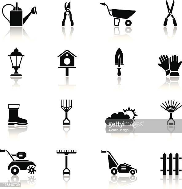 gardening icon set - harrow agricultural equipment stock illustrations, clip art, cartoons, & icons