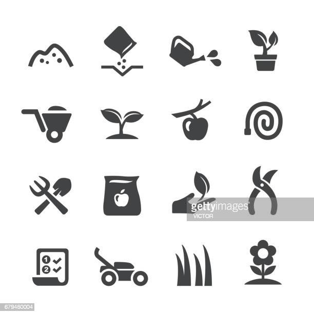 gardening icons - acme series - gardening stock illustrations