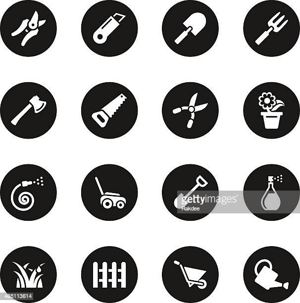 gardening icons - black circle series - pruning shears stock illustrations, clip art, cartoons, & icons