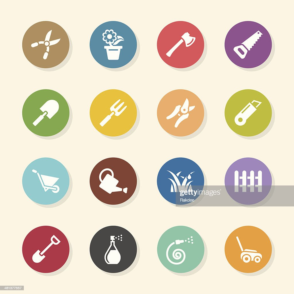 Gardening Icons - Color Circle Series