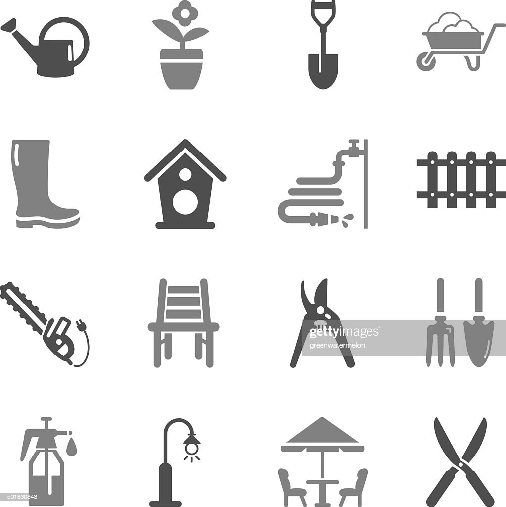 Gardening Icons Gray Color