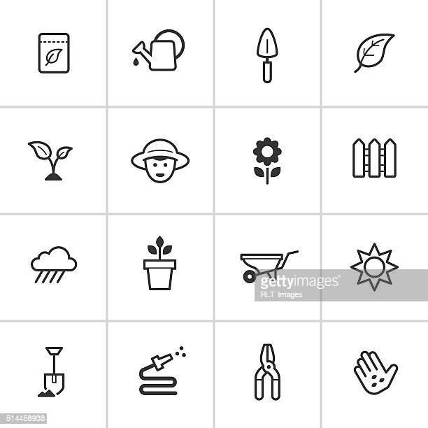 gardening icons — inky series - watering can stock illustrations