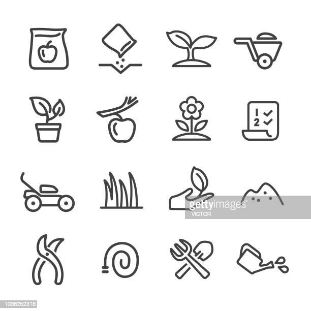 gardening icons - line series - gardening stock illustrations