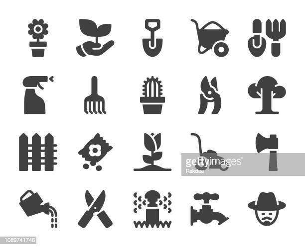 gardening - icons - landscape gardener stock illustrations, clip art, cartoons, & icons