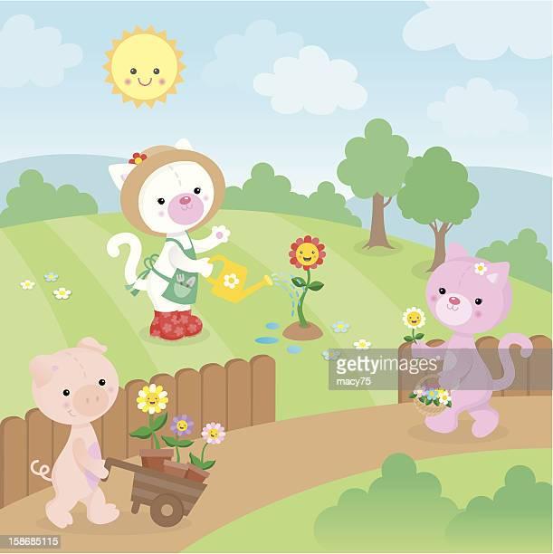Gardening kawaii cute animals