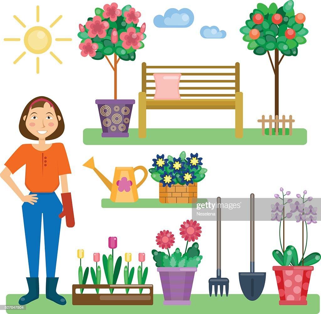 Gardening lifestyle. Girl in the garden.