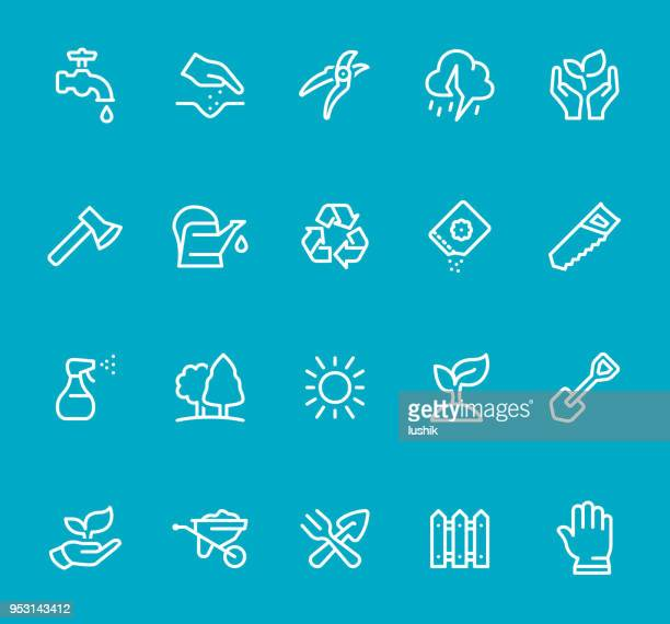 gardening - line icon set - watering can stock illustrations, clip art, cartoons, & icons