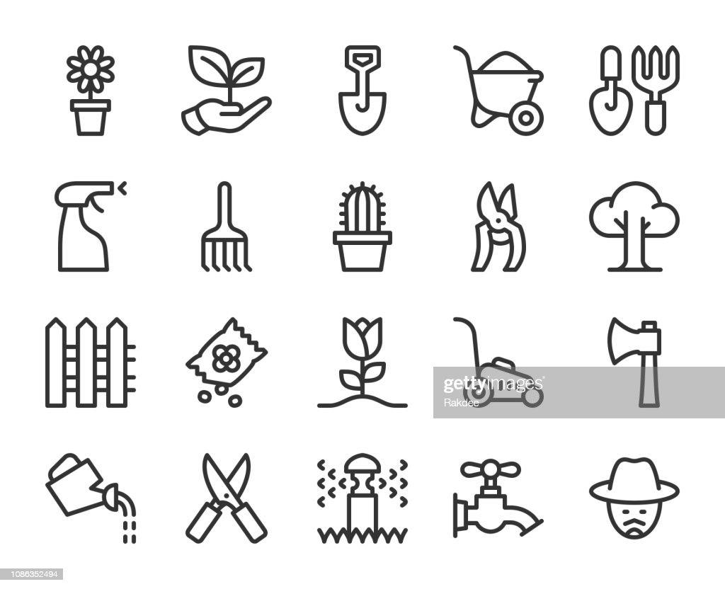 Jardinagem - linha ícones : Ilustração