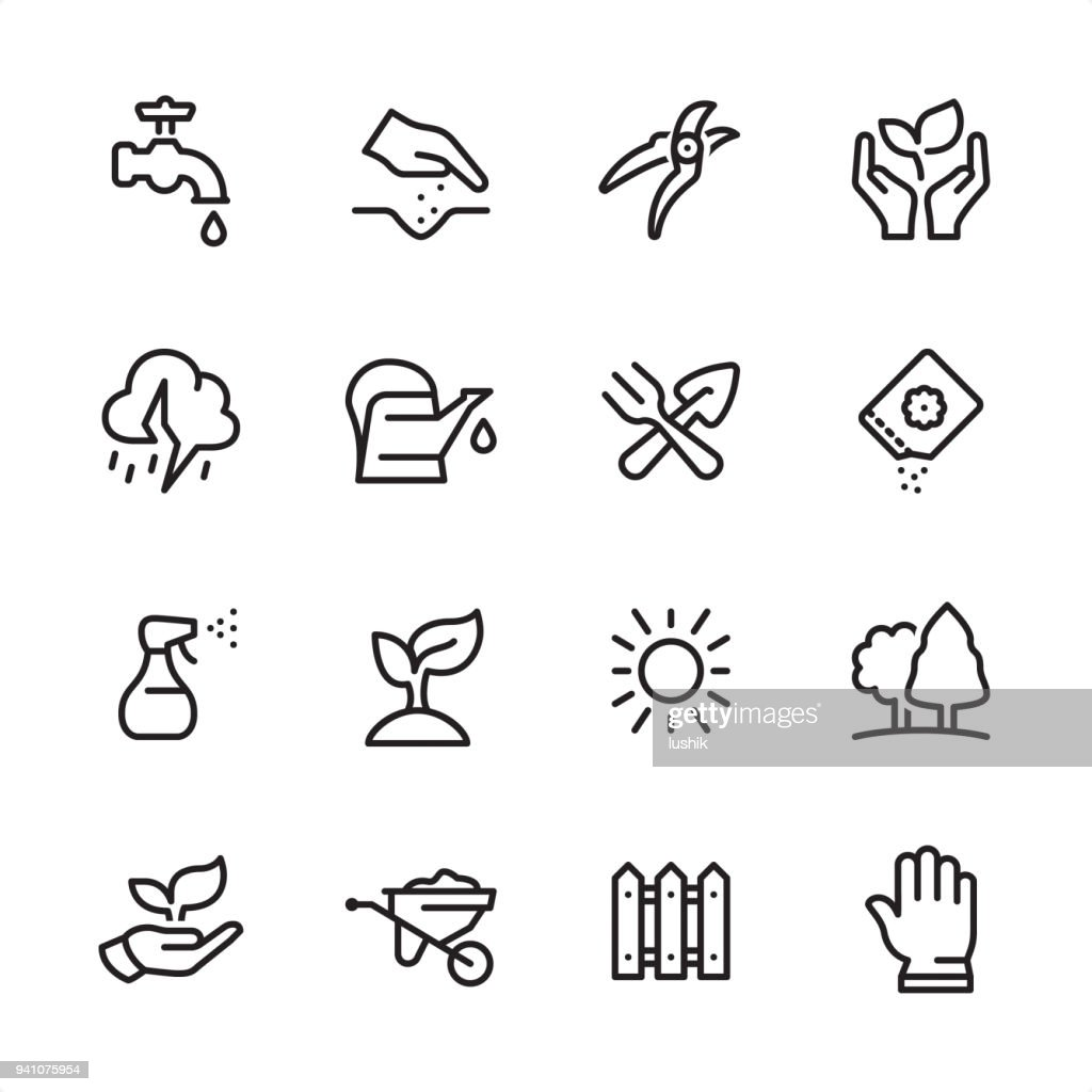 Gardening - outline icon set : stock illustration