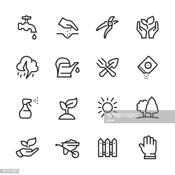 gardening - outline icon set - watering can stock illustrations