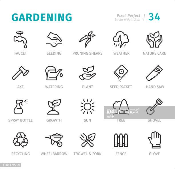 gardening - pixel perfect line icons with captions - garden fork stock illustrations
