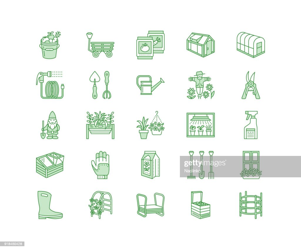 Gardening, planting horticulture line icons. Garden equipment, organic seeds, fertilizer, greenhouse, pruners, watering can. Agriculture, vegetables, flower cultivation signs. Pixel perfect 128x128