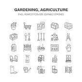 Gardening, planting horticulture line icons. Garden equipment, organic seeds, fertilizer, greenhouse, pruners, watering can. Agriculture vegetables flower cultivation signs Pixel perfect 128x128