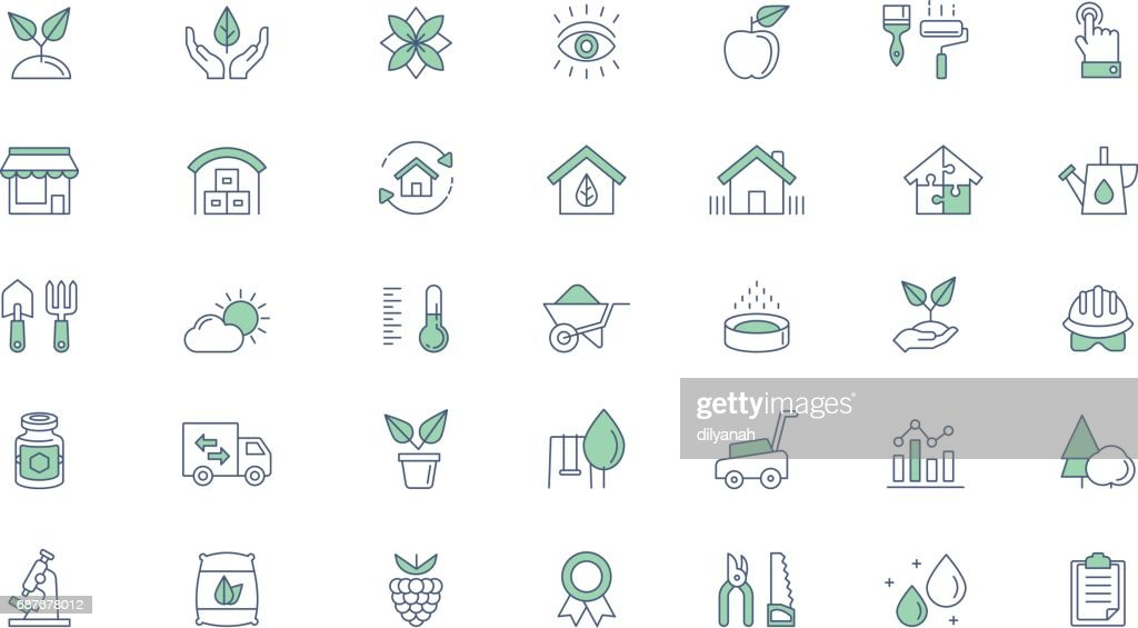 Gardening, planting line vector icon set