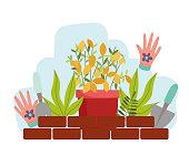 gardening plants pot leaves gloves shovel