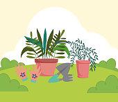 gardening potted plants gloves rake shovel