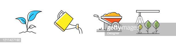 gardening related vector line icons. outline symbol collection - irrigation equipment stock illustrations