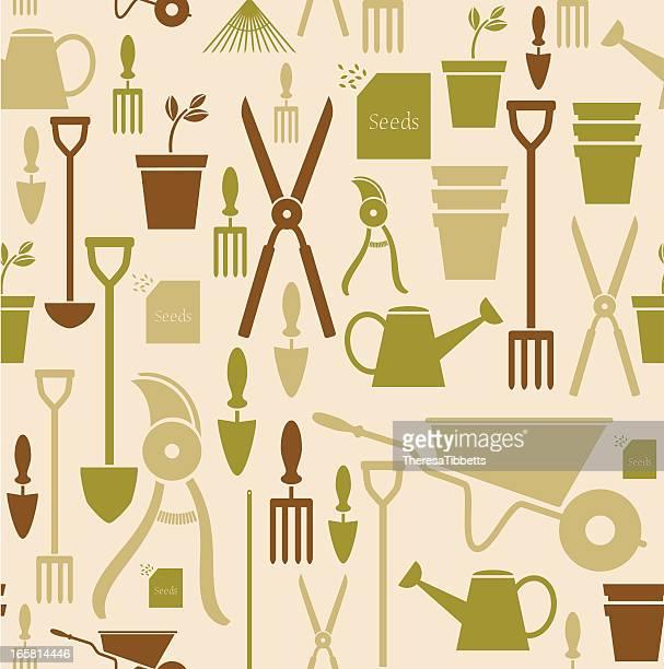 gardening repeat pattern - landscaper stock illustrations, clip art, cartoons, & icons