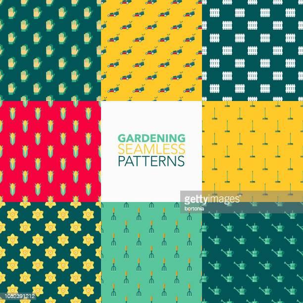 gardening seamless pattern set - daffodil stock illustrations, clip art, cartoons, & icons
