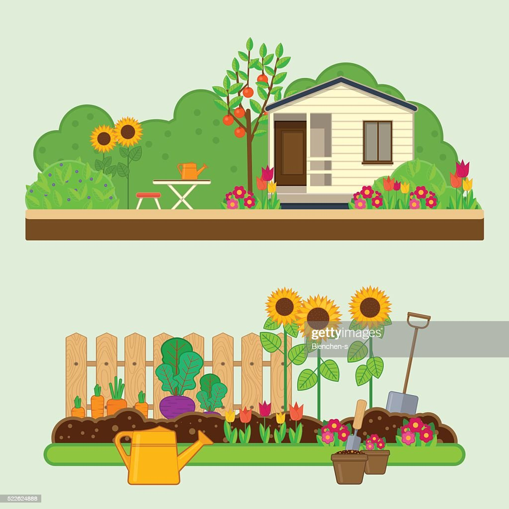 Gardening set. Illustrations with garden, cottage and garden tools