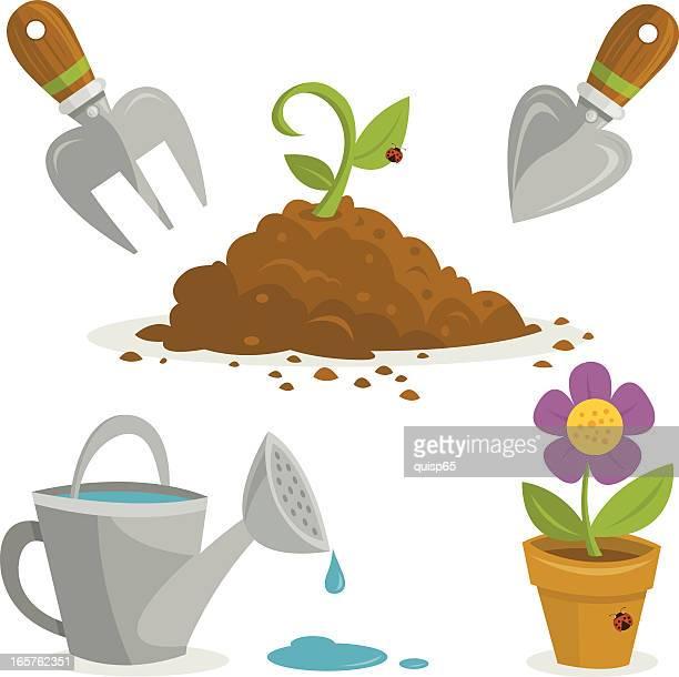 ilustrações de stock, clip art, desenhos animados e ícones de conjunto de jardinagem - planta de vaso