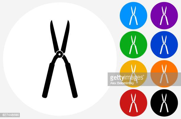 gardening shears icon on flat color circle buttons - pruning shears stock illustrations, clip art, cartoons, & icons