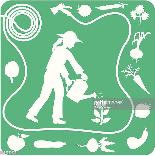 gardening silhouette elements - parsnip stock illustrations, clip art, cartoons, & icons
