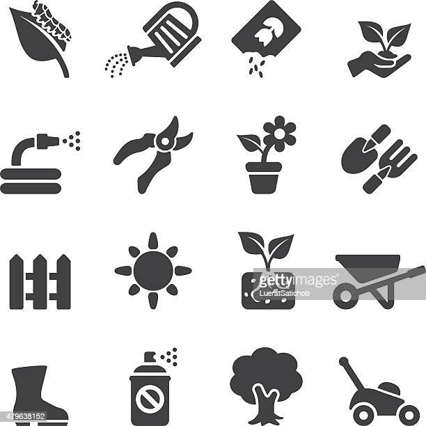 gardening silhouette icons | eps10 - gardening stock illustrations