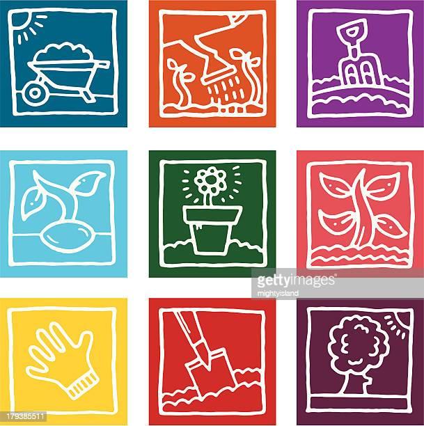 gardening sketch block icons set - landscape gardener stock illustrations, clip art, cartoons, & icons