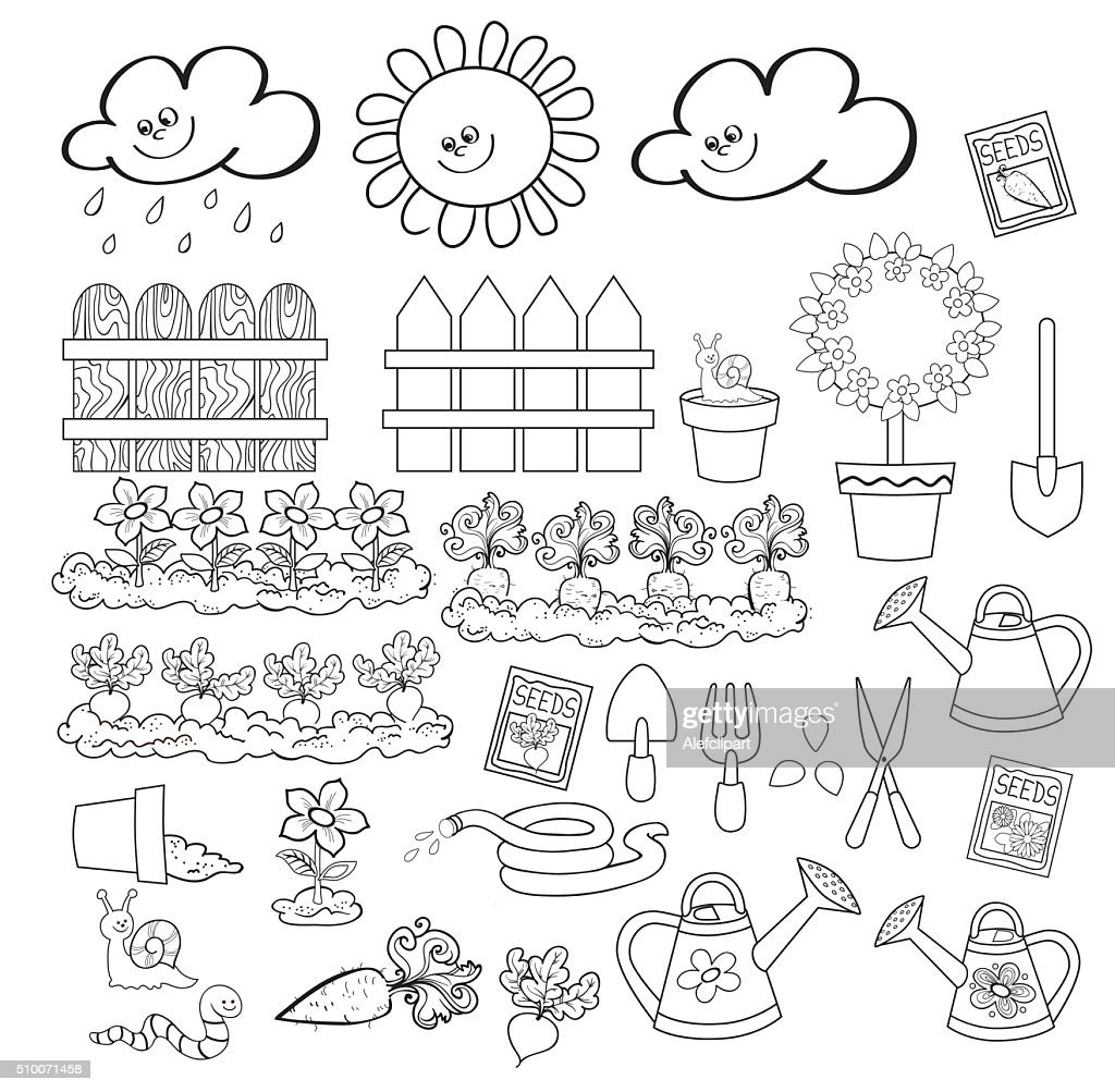 Gardening spring icon set. Clipart for teachers.