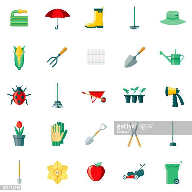 gardening supplies flat design icon set - gardening stock illustrations