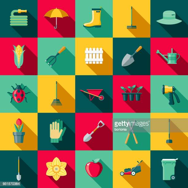 gardening supplies flat design icon set with side shadow - watering can stock illustrations