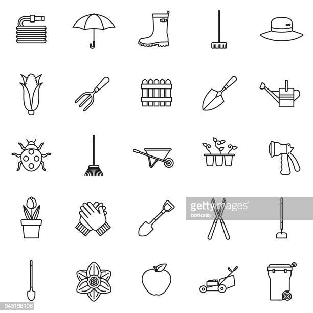 gardening thin line icon set - vegetable garden stock illustrations, clip art, cartoons, & icons