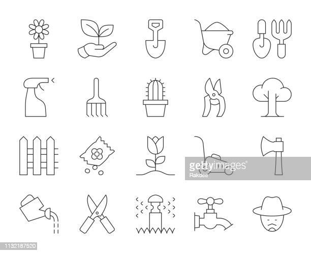 gardening - thin line icons - watering can stock illustrations