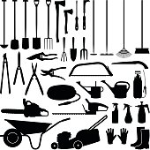 Gardening tool collection - vector silhouette