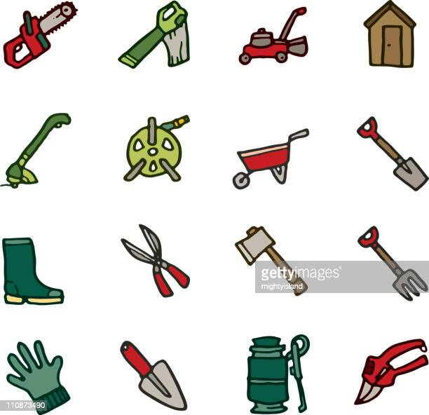 gardening tool doodle icons - weed wacker stock illustrations, clip art, cartoons, & icons