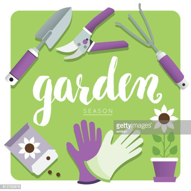 gardening tools and accessories icons, vector illustration - pruning shears stock illustrations, clip art, cartoons, & icons