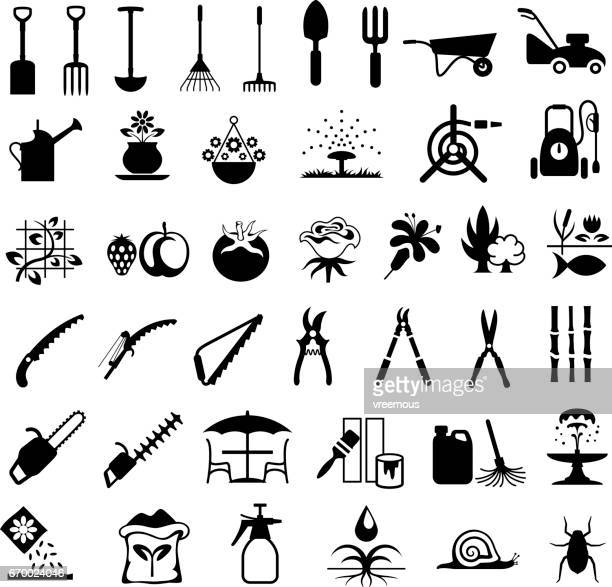 gardening tools and products icons - gardening stock illustrations