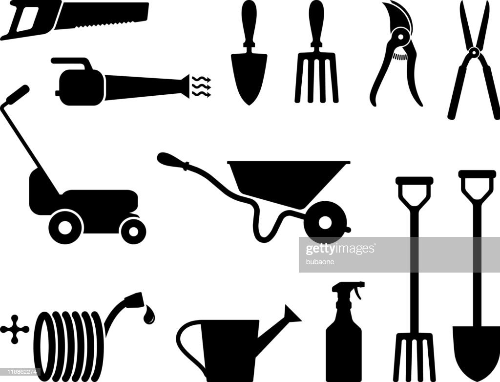 Gardening tools black and white : stock illustration