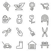Gardening Tools & Equipment Icons Thin Line Vector Illustration Set