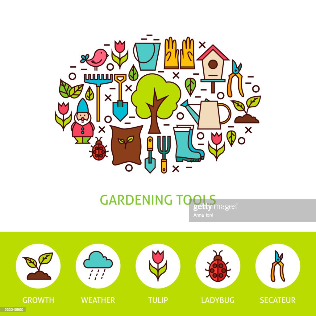 Gardening Tools Flat Outline Design Template with Icons