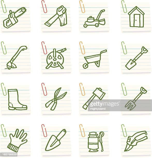gardening tools post it note icons - weed wacker stock illustrations, clip art, cartoons, & icons