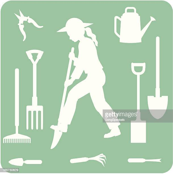 gardening tools silhouettes - harrow agricultural equipment stock illustrations, clip art, cartoons, & icons