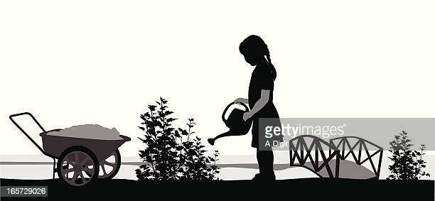 gardening vector silhouette - one girl only stock illustrations, clip art, cartoons, & icons