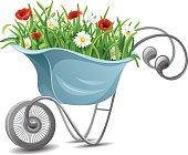 Gardening. Wheelbarrow with flowers