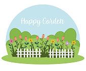 gardening white fence flowers grass bushes