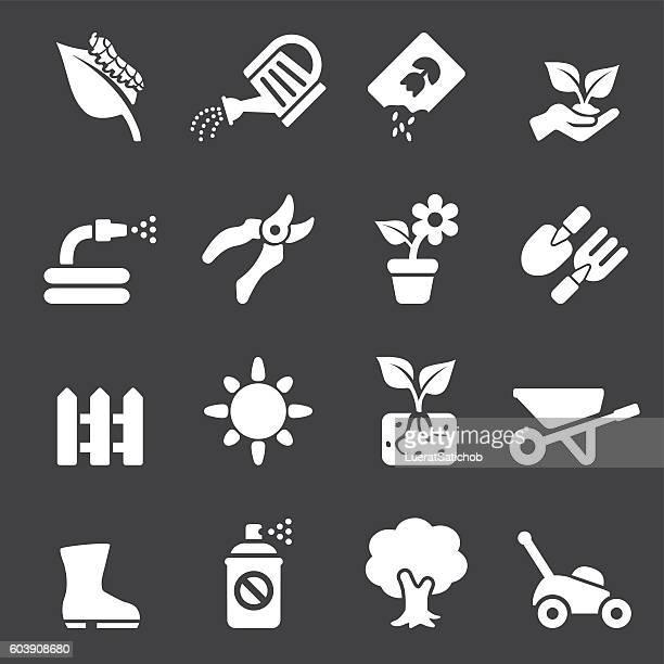 Gardening White Silhouette icons | EPS10