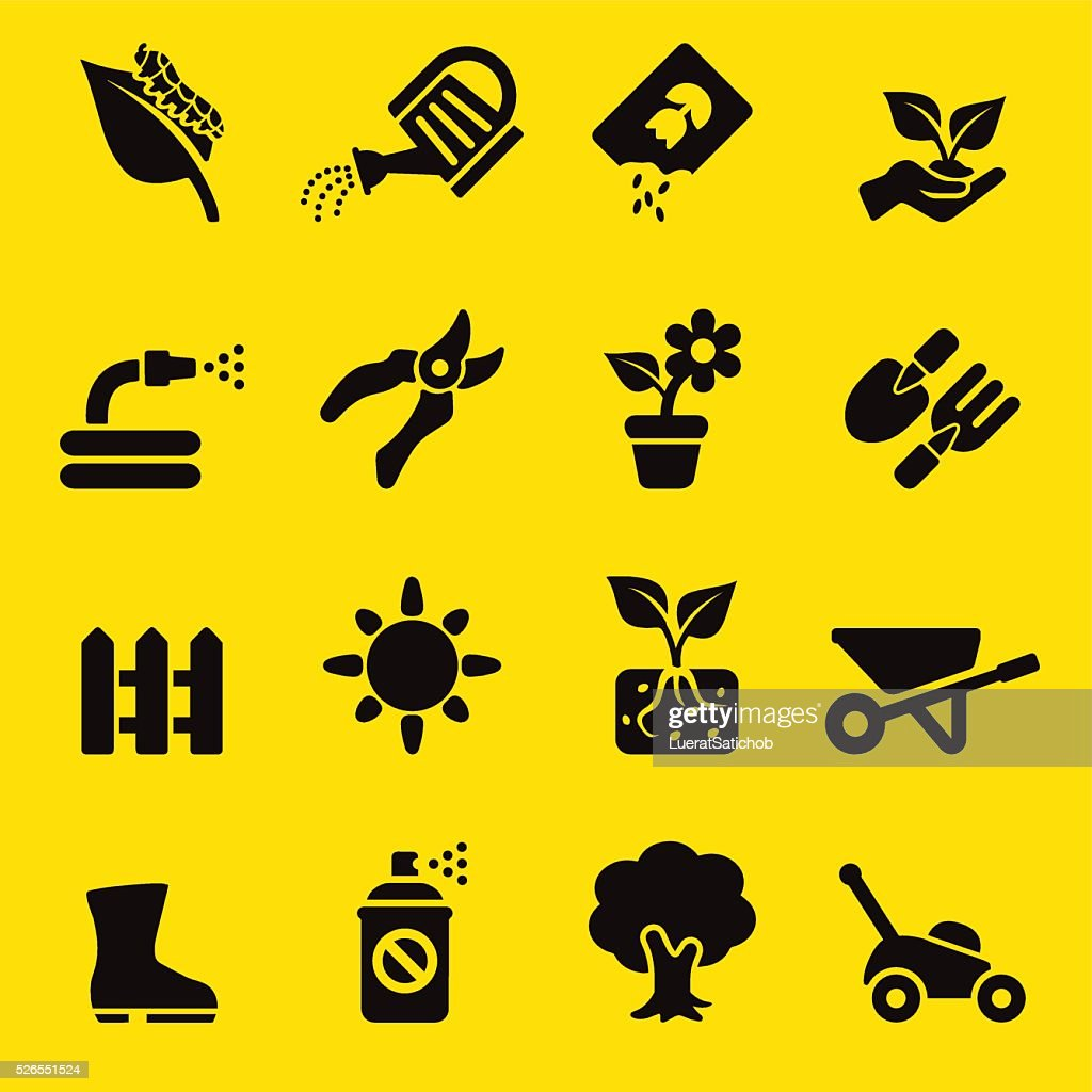 Gardening Yellow Silhouette icons | EPS10